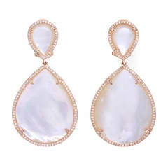 Stunning Rose Gold Mother of Pearl Diamond Large Dangle Earrings