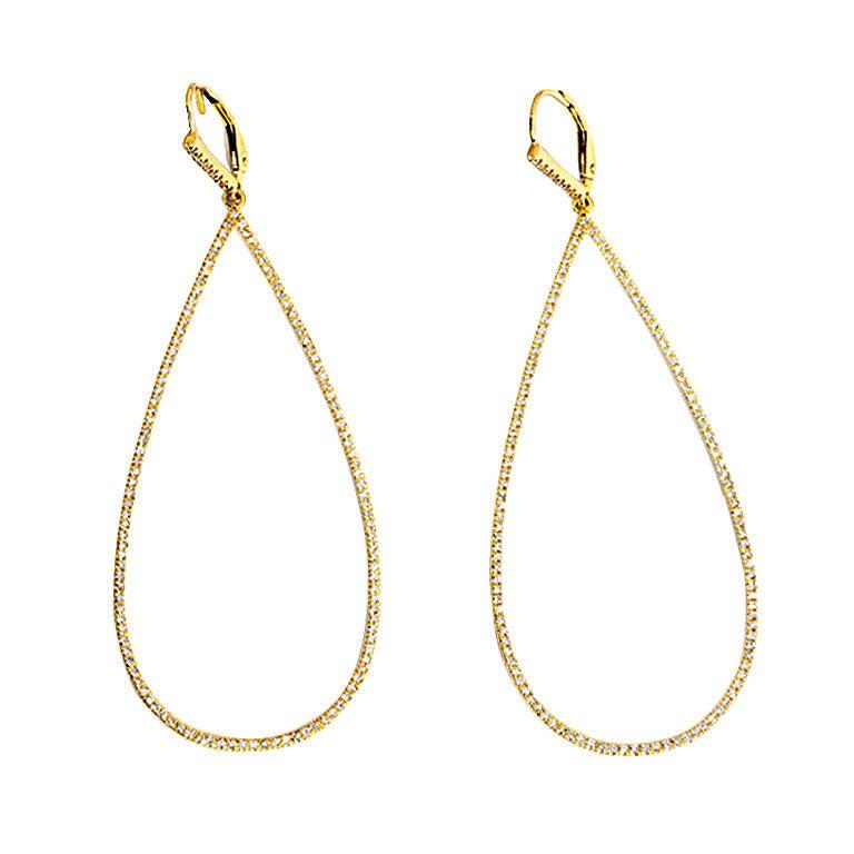 Elegant Diamond Gold Teardrop Dangle Earrings