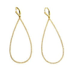 Elegant Diamond Gold Teardrop Dangle Earrings
