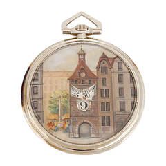 Jules Jurgensen White Gold Digital Pocket Watch with Town Scene on Dial