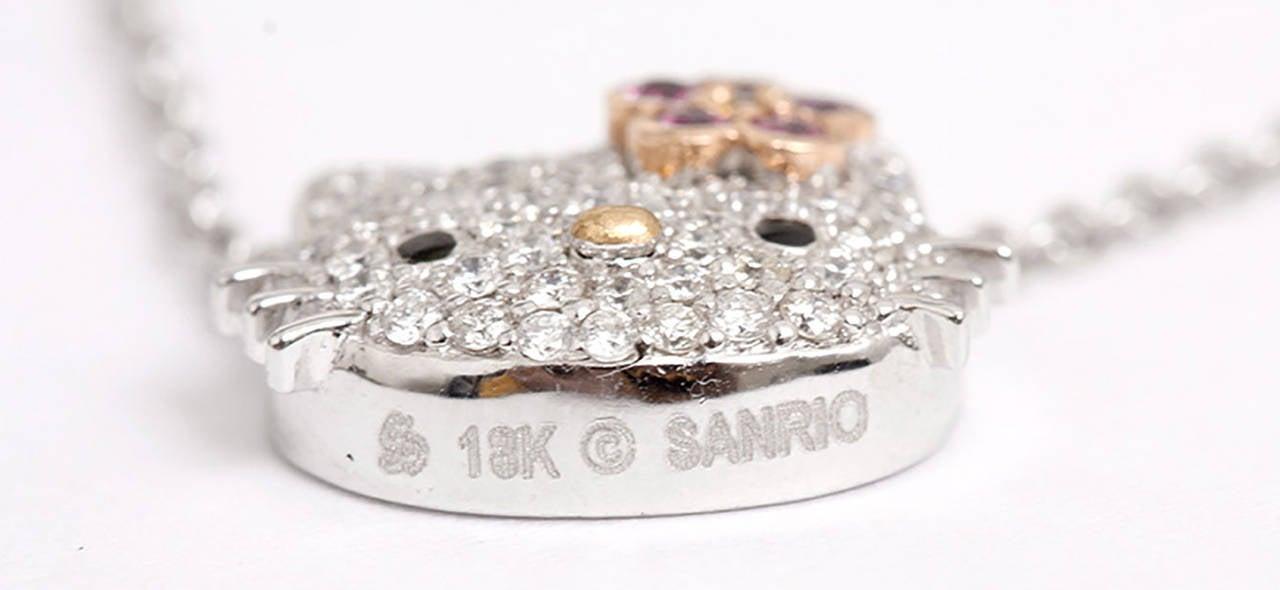 Kimora Lee Simmons for Hello Kitty Diamond White Gold Necklace at