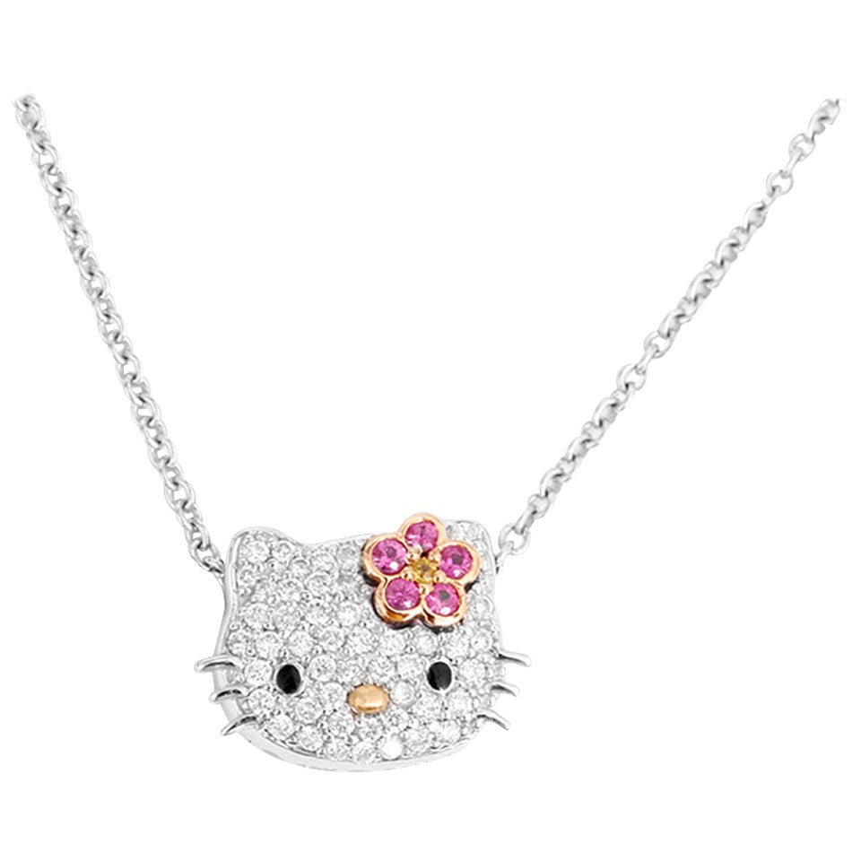 67f2b52f8 Kimora Lee Simmons for Hello Kitty Diamond White Gold Necklace For Sale