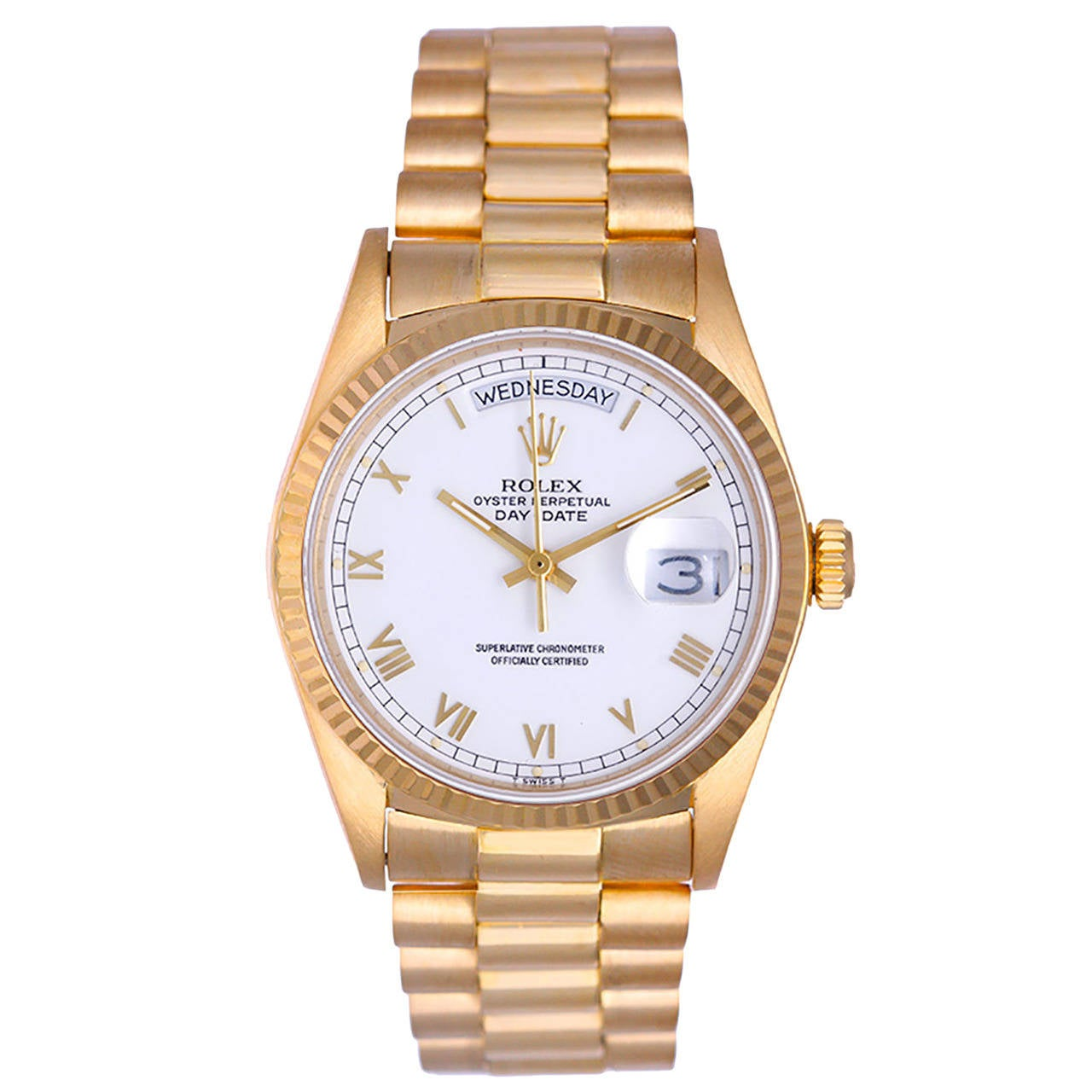Rolex Yellow Gold Day-Date President Wristwatch Ref 18038 with White Roman Dial