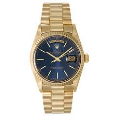 Rolex Yellow Gold Day-Date President Wristwatch with Blue Dial