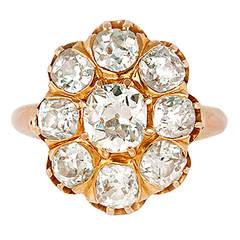 Stunning Vintage Rose Gold Diamond Cluster Ring, ca. Paris 1948