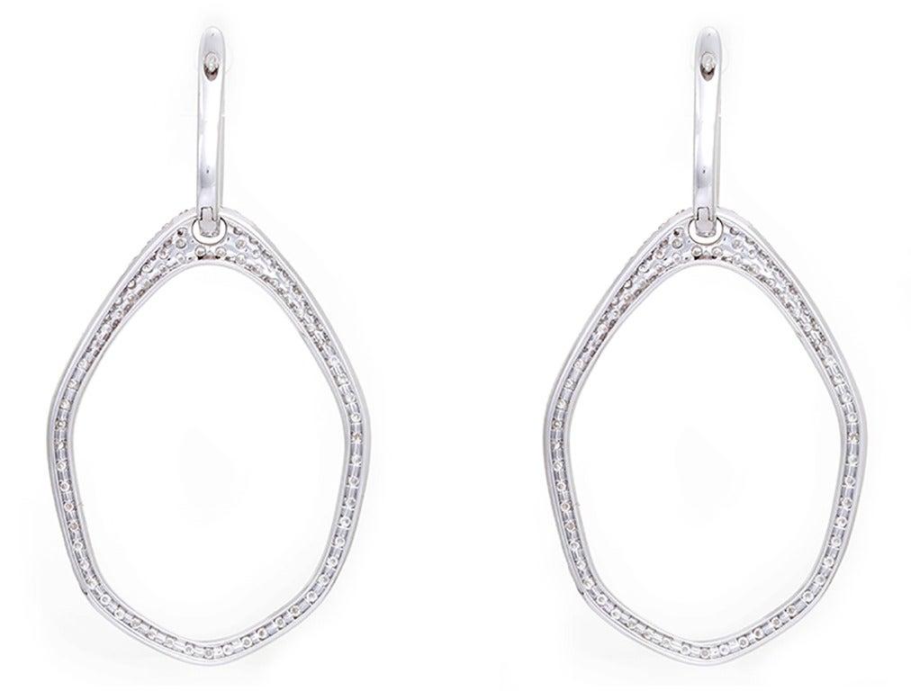 Beautiful White Gold Diamond Huggie Dangle Earrings For ...