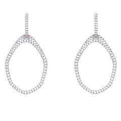 Beautiful White Gold Diamond Huggie Dangle Earrings