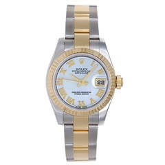 Rolex Lady's Stainless Steel and Yellow Gold Datejust Wristwatch Ref 179173