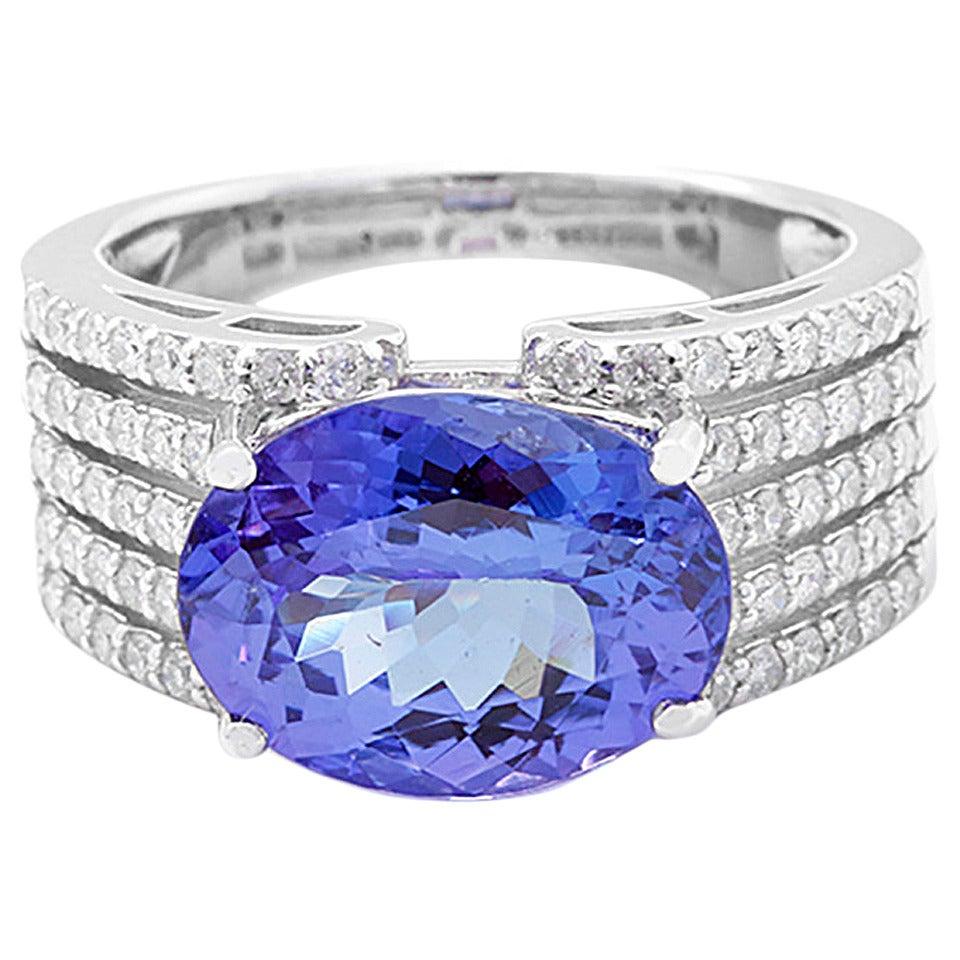 Beautiful Tanzanite: Beautiful Tanzanite Diamond White Gold Ring At 1stdibs