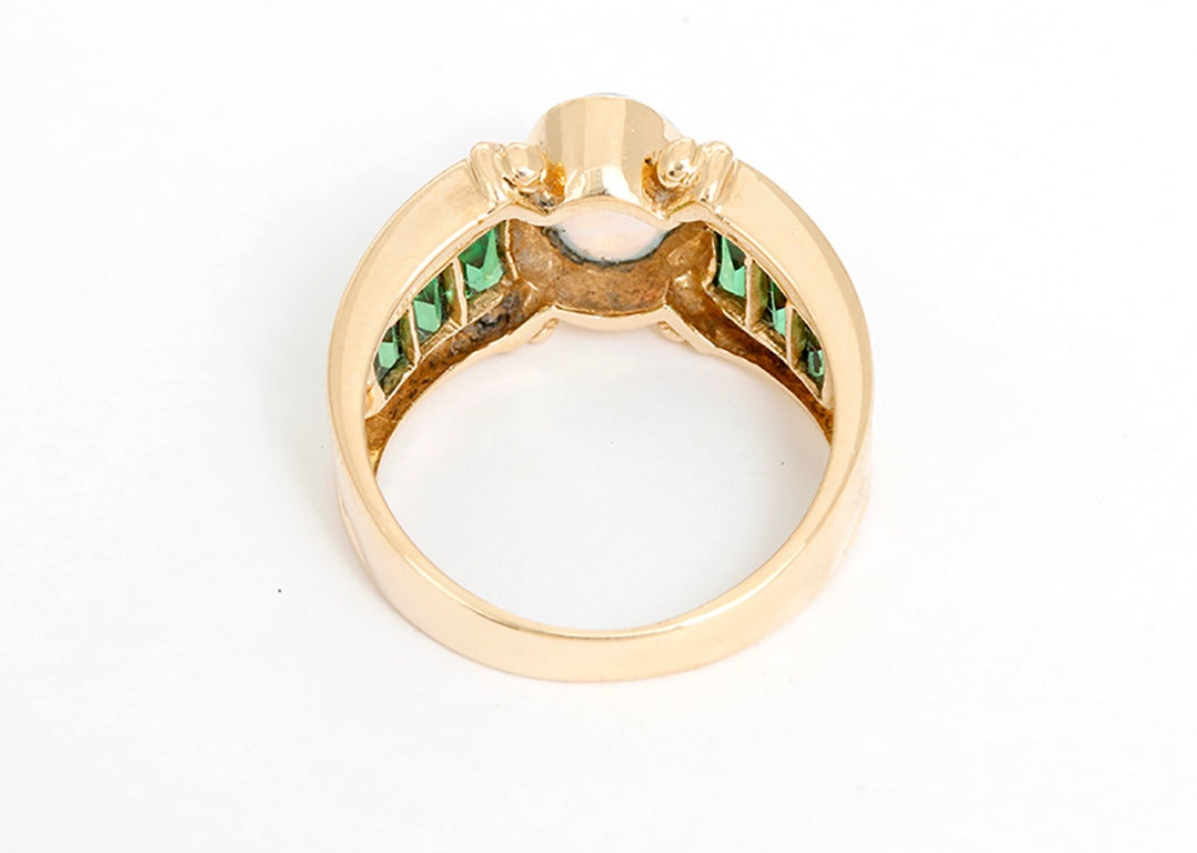 amazing opal emerald yellow gold ring at 1stdibs