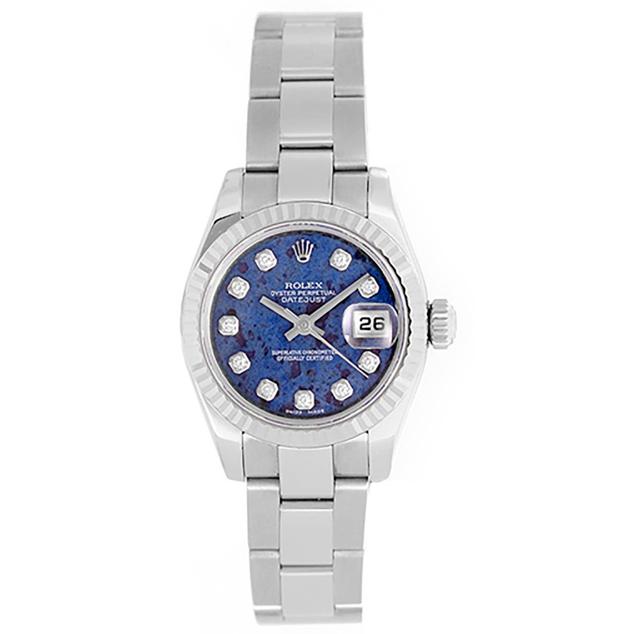 Ladies Rolex President White Gold Watch 179179 Sodalite Diamond Dial 1