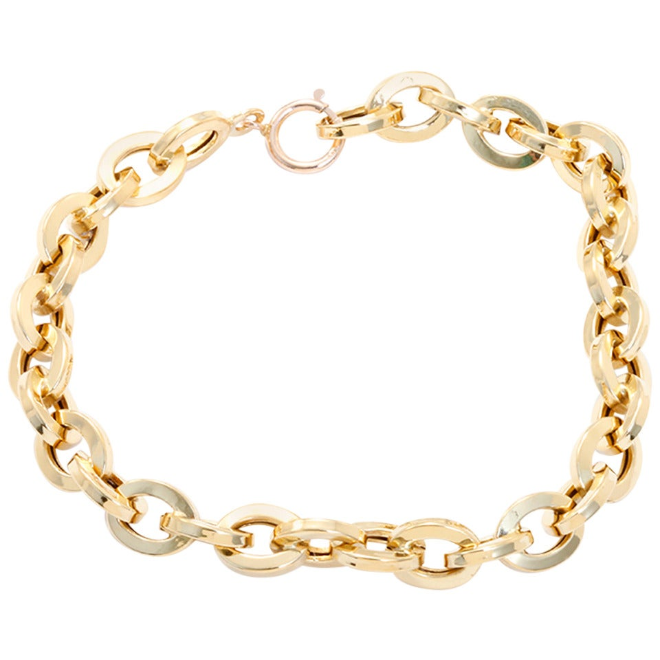 Beautiful Yellow Gold Link Bracelet at 1stdibs