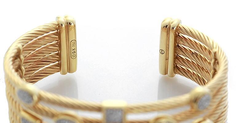 fd7f11194 David Yurman diamond gold Confetti Wide Cuff Bracelet In Excellent  Condition For Sale In Dallas,