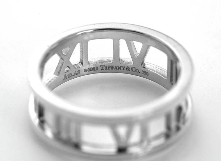 Tiffany and Co Atlas Gold Open Roman Numeral Band Ring For Sale