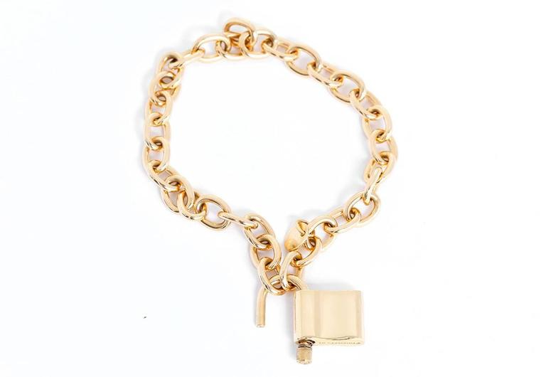 Tiffany & Co. Gold 1837 Padlock Charm Chain Link Bracelet In Excellent Condition In Dallas, TX
