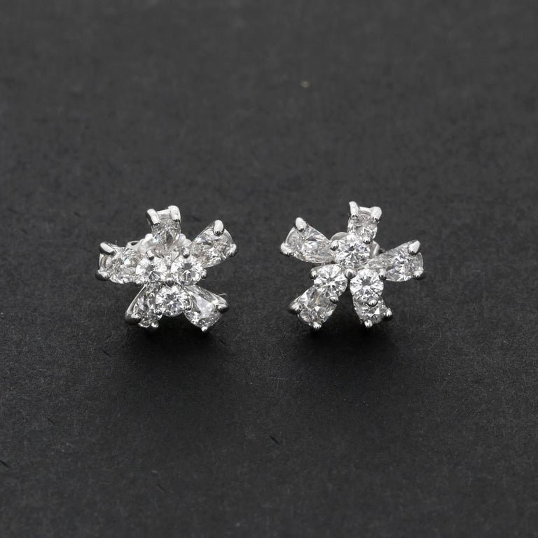 Flower Stud Earrings with Convertible Earring Jackets 2
