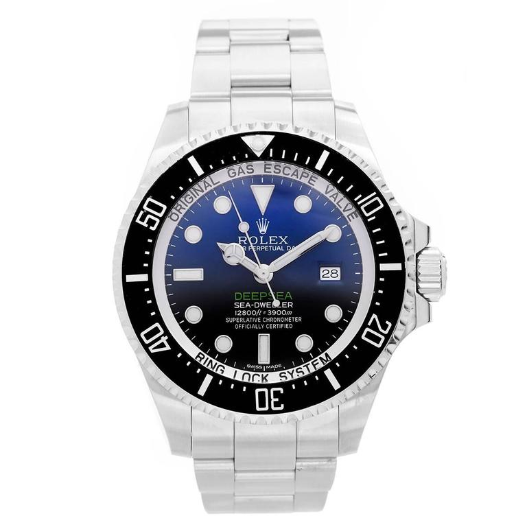 Rolex Sea Dweller-Deepsea Blue 116660 -  Automatic. Stainless Steel ( 44mm ). Gradient deep blue with unidirectional rotating ceramic bezel. Oyster bracelet with glide lock and adjustable clasp. Pre-owned with box and papers.