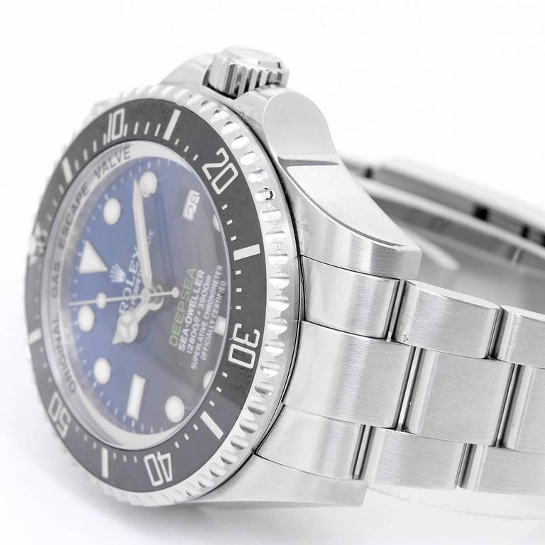 Rolex Stainless Steel Sea Dweller-Deepsea Blue Wristwatch Ref 116660  In Excellent Condition For Sale In Dallas, TX