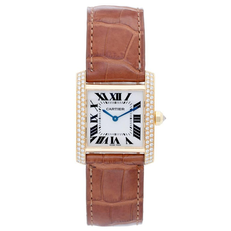 Cartier Yellow Gold Tank Francaise Midsize Quartz Wristwatch For Sale