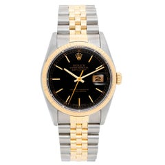 Rolex Yellow Gold Stainless Steel Datejust Black Dial Automatic Wristwatch