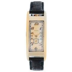 Movado Yellow Gold Polyplan Rectangular Manual Wristwatch