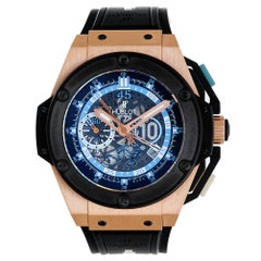 Hublot Rose Gold Big Bang King Power Diego Maradona Skeleton Dial Wristwatch