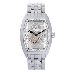 Franck Muller Stainless Steel Cintree Curvex Skeleton Dial Manual Wristwatch