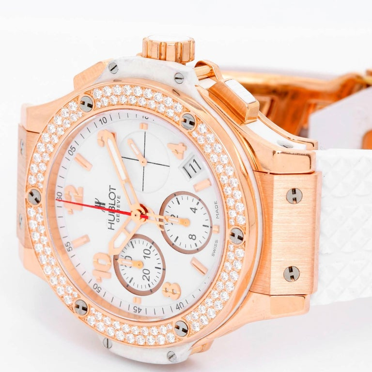 Hublot Big Bang Portocervo 18k Rose Gold Unisex Watch 341.PE.230.RW.114 -  Automatic winding chronograph. 18k rose gold case with 114 Diamond bezel (41mm). White dial with rose gold Arabic numerals and stick markers; hour, minute and seconds