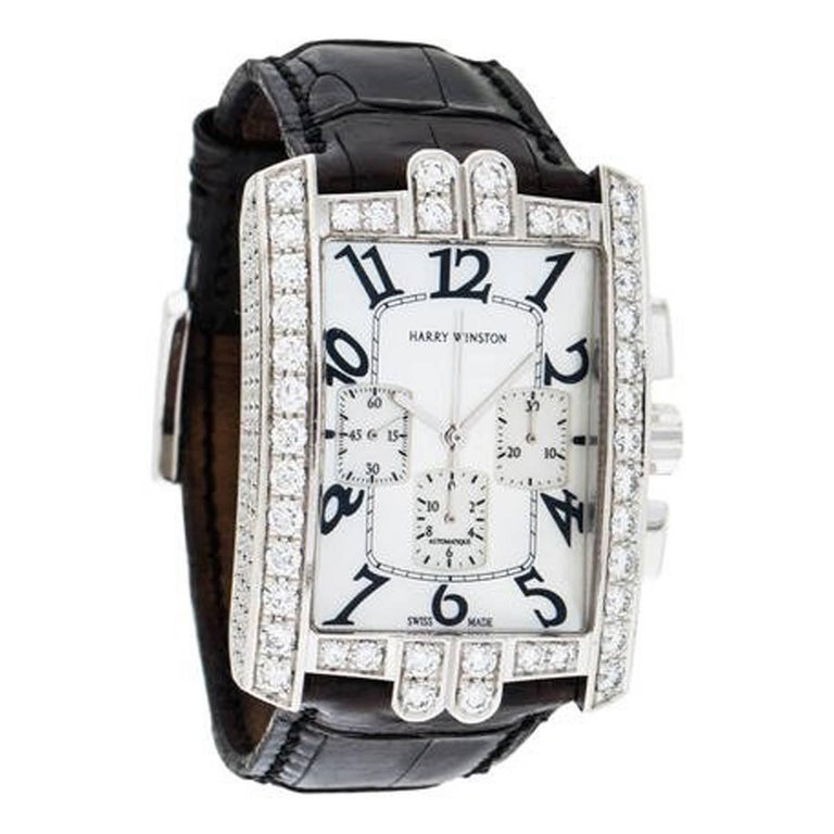 Harry Winston White Gold Diamond Avenue C Chrono Automatic Wristwatch  For Sale