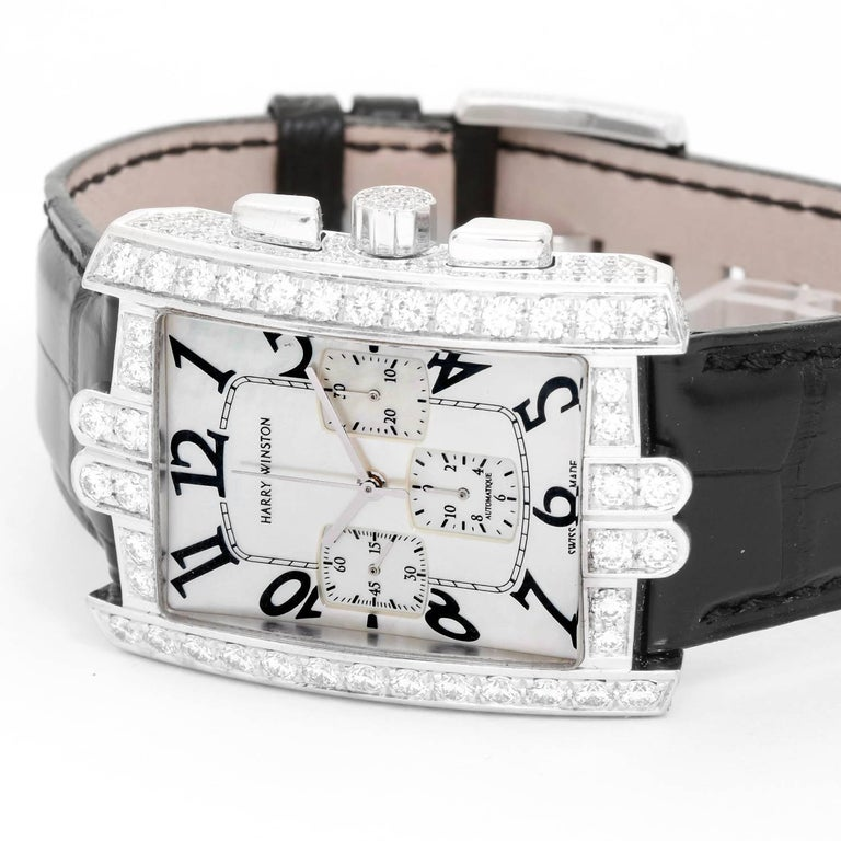 Harry Winston White Gold Diamond Avenue C Chrono Automatic Wristwatch  In Excellent Condition For Sale In Dallas, TX