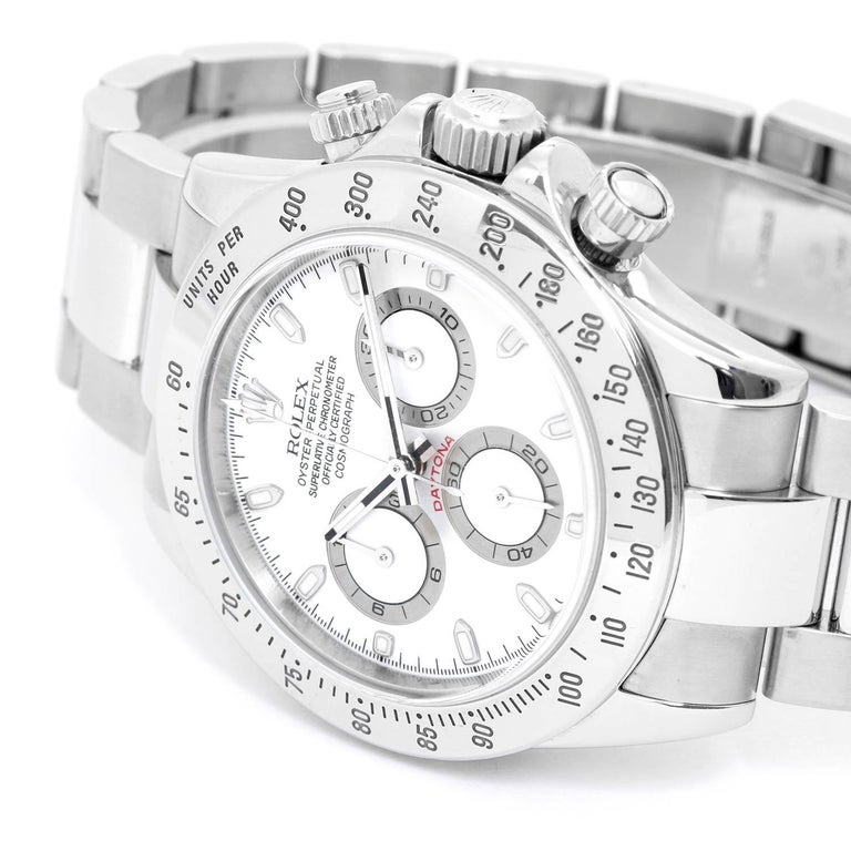 Rolex Daytona Men's Stainless Steel Chronograph Watch 116520 -  Automatic winding, chronograph, 44 jewels, sapphire crystal. Stainless steel case (40mm diameter). White dial with luminuous hour markers. Stainless steel Oyster bracelet with flip-lock