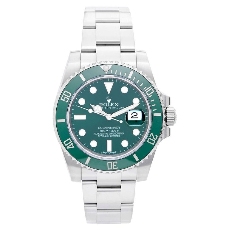 Rolex Stainless Steel Submariner Green Dial Automatic Wristwatch