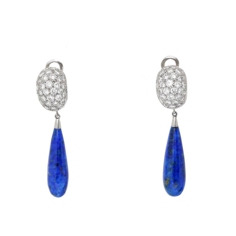 Carvin French Lapis Lazuli Platinum Earrings - . Stunning Carvin French Earrings. Set in platinum with an estimated total diamond weight of 2.35 cts. With a Lapis Lazuli tear drop. Hallmark; Makers Mark. Total length 1 5/8 inch.