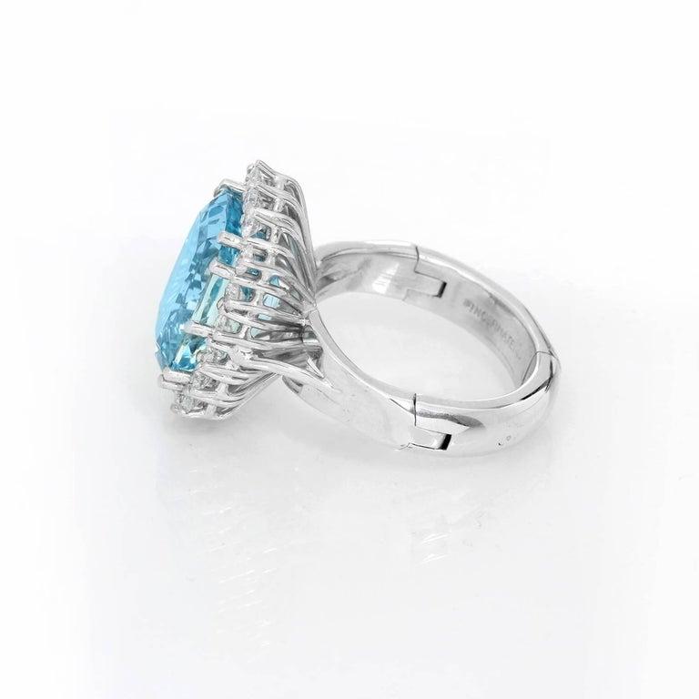 Women's 14 Karat White Gold Blue Topaz and Diamond Ring For Sale