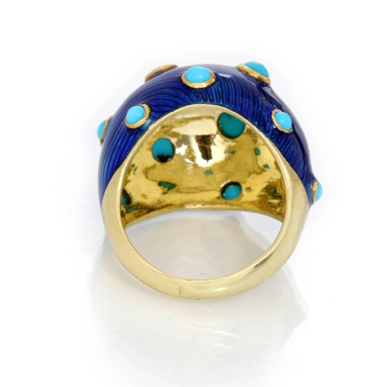 Women's Carvin French Turquoise, Diamond and Enamel Dome Ring For Sale