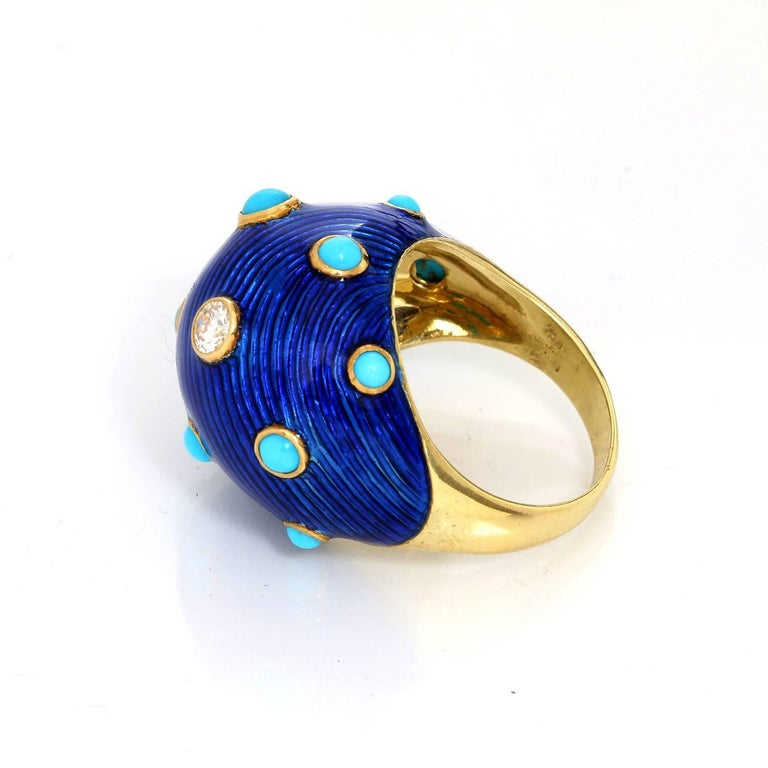 Carvin French Turquoise, Diamond and Enamel Dome Ring In Excellent Condition For Sale In Dallas, TX