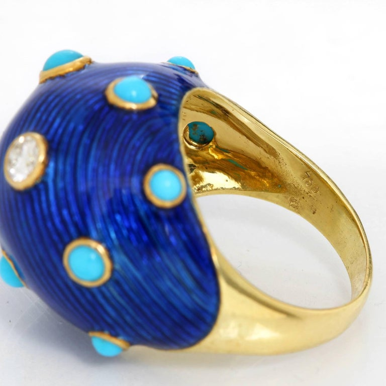 Carvin French Turquoise, Diamond and Enamel Dome Ring For Sale 1