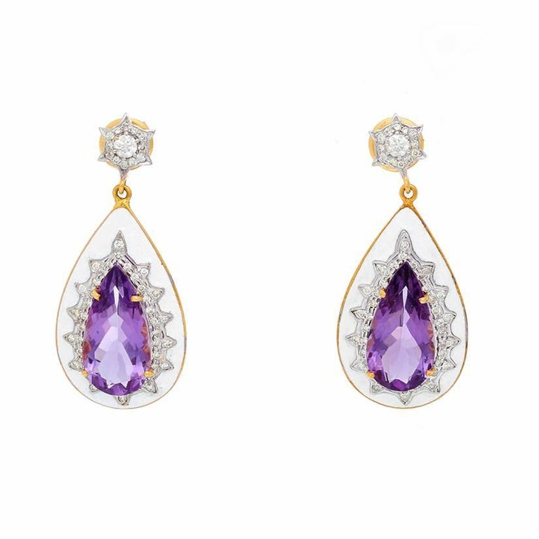 Amethyst, Diamond and Enamel Yellow Gold Earrings - . Beautiful drop earrings set in yellow gold, with a Amethyst surrounded by diamonds weighing 1 cts. Length 1 3/4 in.