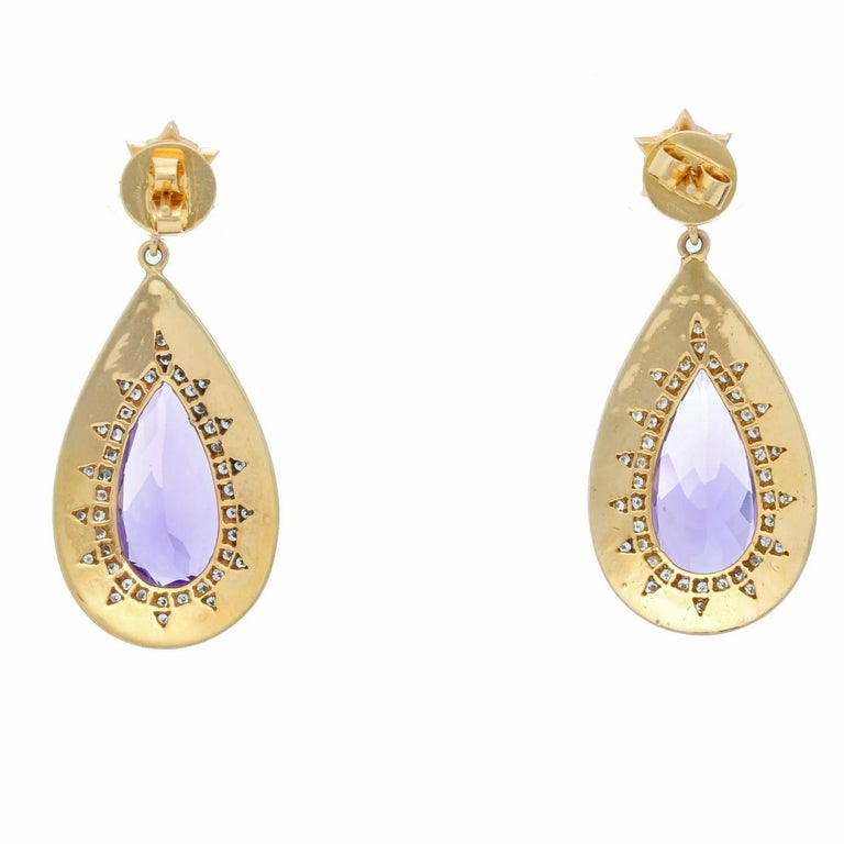 Amethyst, Diamond and Enamel Yellow Gold Earrings In Excellent Condition For Sale In Dallas, TX