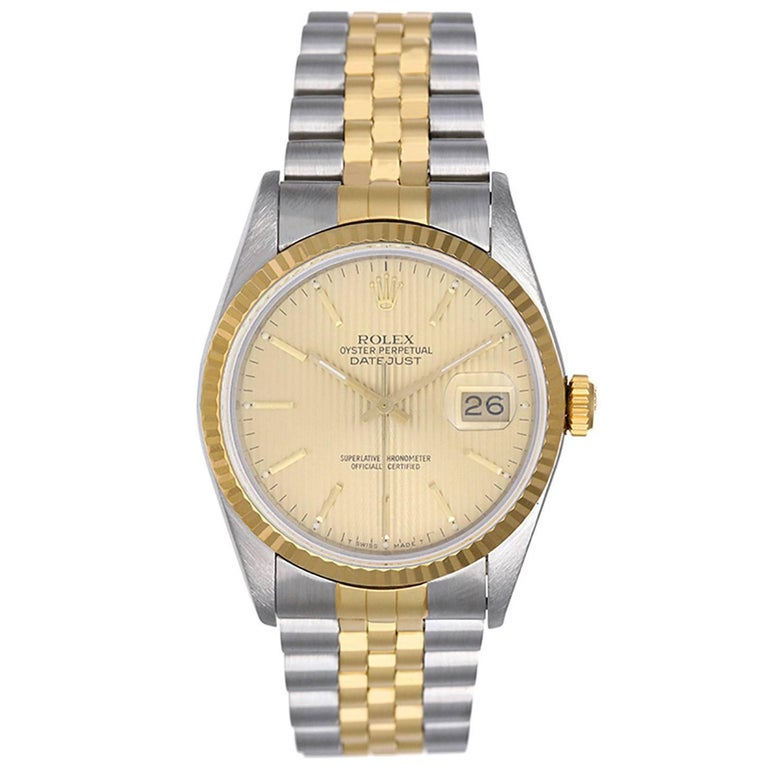 Rolex Yellow Gold Stainless Steel Tapestry Dial Datejust Automatic Wristwatch
