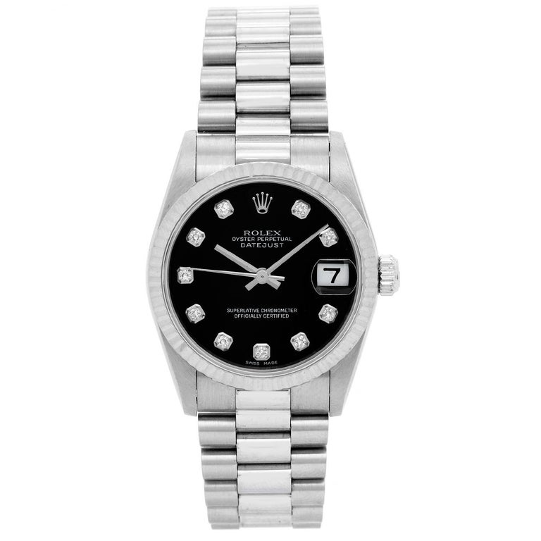 Rolex White Gold Oyster Perpetual Midsize Automatic Wristwatch Ref 68279 For Sale