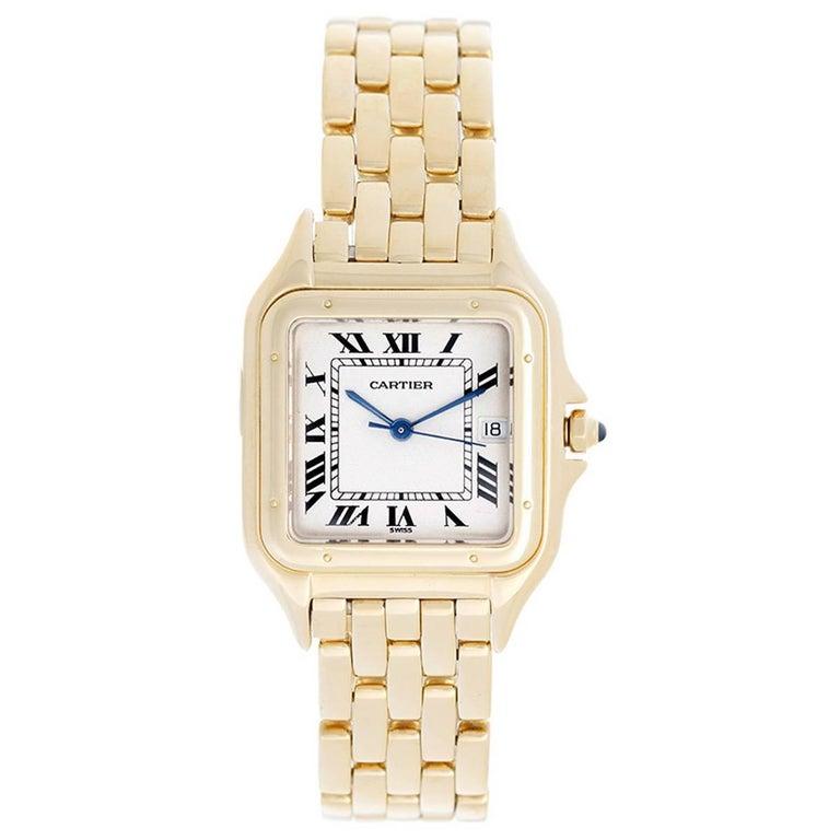 Cartier Yellow Gold Panther Date Quartz Wristwatch