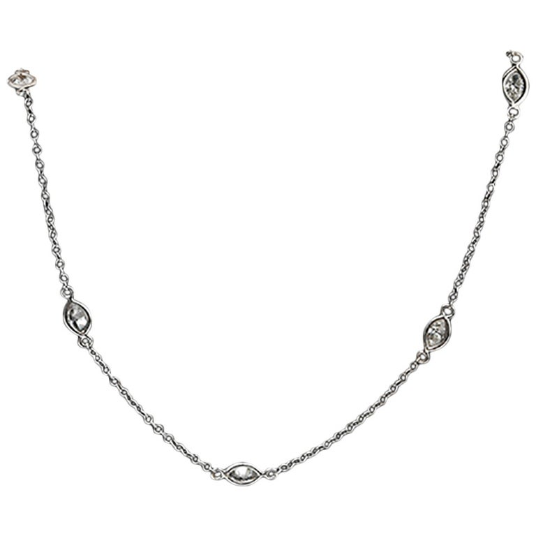Amazing Marquise-Cut Diamond Gold Necklace