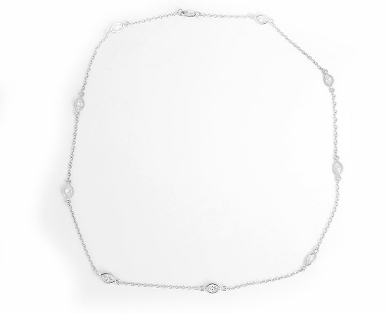 This amazing necklace features 2.65 ctw. of marquis-cut diamonds (J-K-L color and I-clarity)  set in 14k white gold. Necklace measures apx. 19-1/2 inches in length. Total weight is 6.20 grams.  This necklace is perfect for any look!