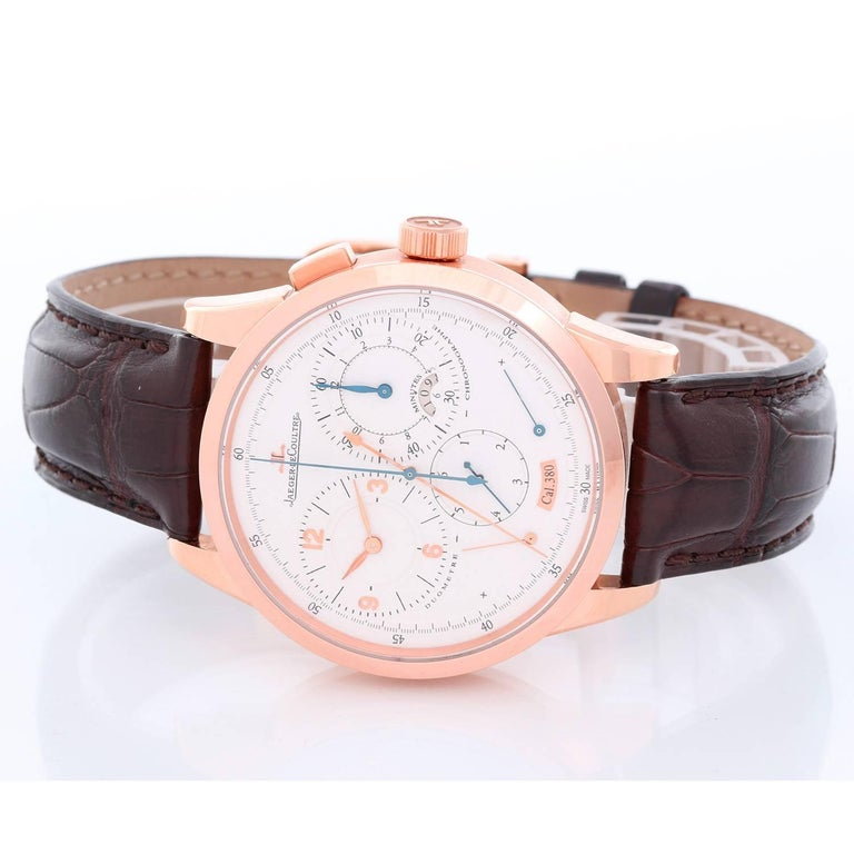 Jaeger LeCoultre Rose gold Duometre Chronograph Manual Wristwatch Ref 380A In Excellent Condition For Sale In Dallas, TX