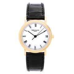 Patek Philippe Yellow Gold Calatrava White Dial Automatic Wristwatch