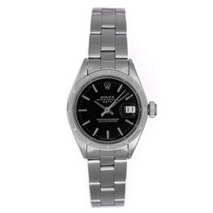 Rolex Ladies Stainless Steel Black Dial Date Automatic Wristwatch Ref 6919