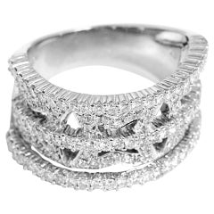 Unique Diamond Gold Lady's Wide Band Ring