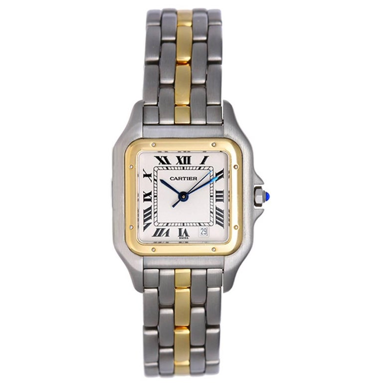 6cd64b425af Cartier Ladies Yellow Gold Stainless Steel Panthere Quartz Wristwatch For  Sale