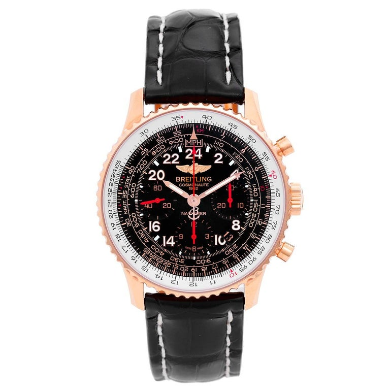 Breitling Rose Gold Navitimer Cosmonaute Manual Wristwatch Ref RB0210